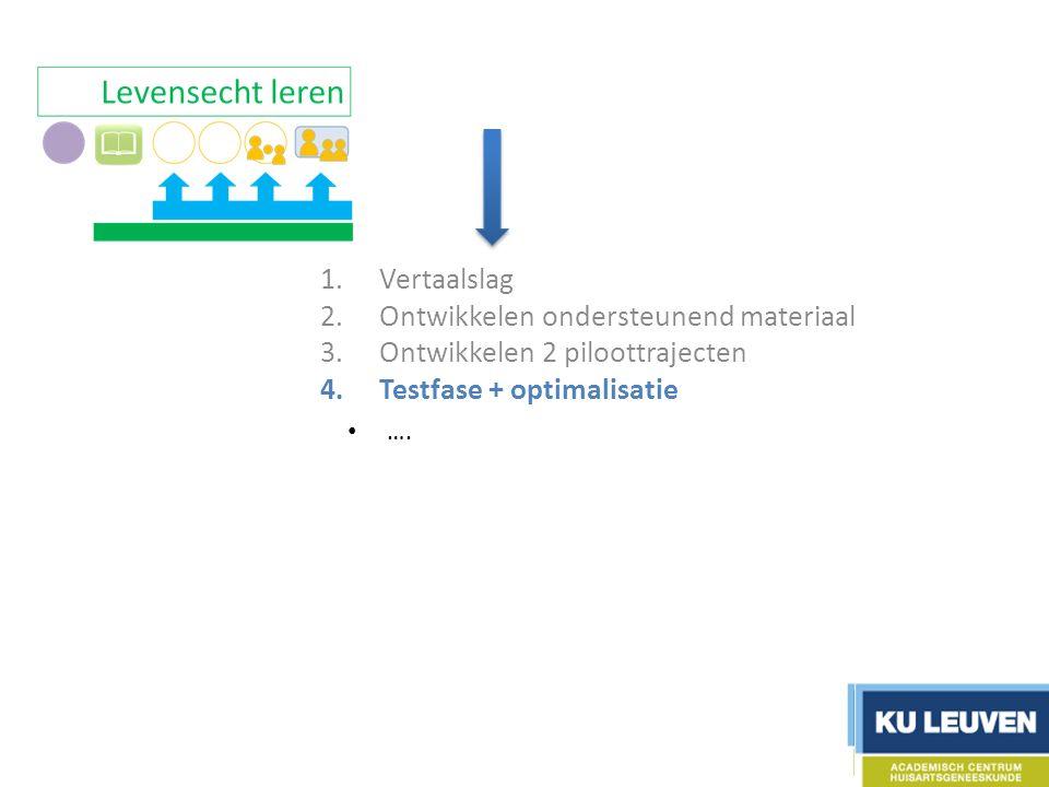 1.Vertaalslag 2.Ontwikkelen ondersteunend materiaal 3.Ontwikkelen 2 piloottrajecten 4.Testfase + optimalisatie 5.Evaluatie 6.Communicatie ….