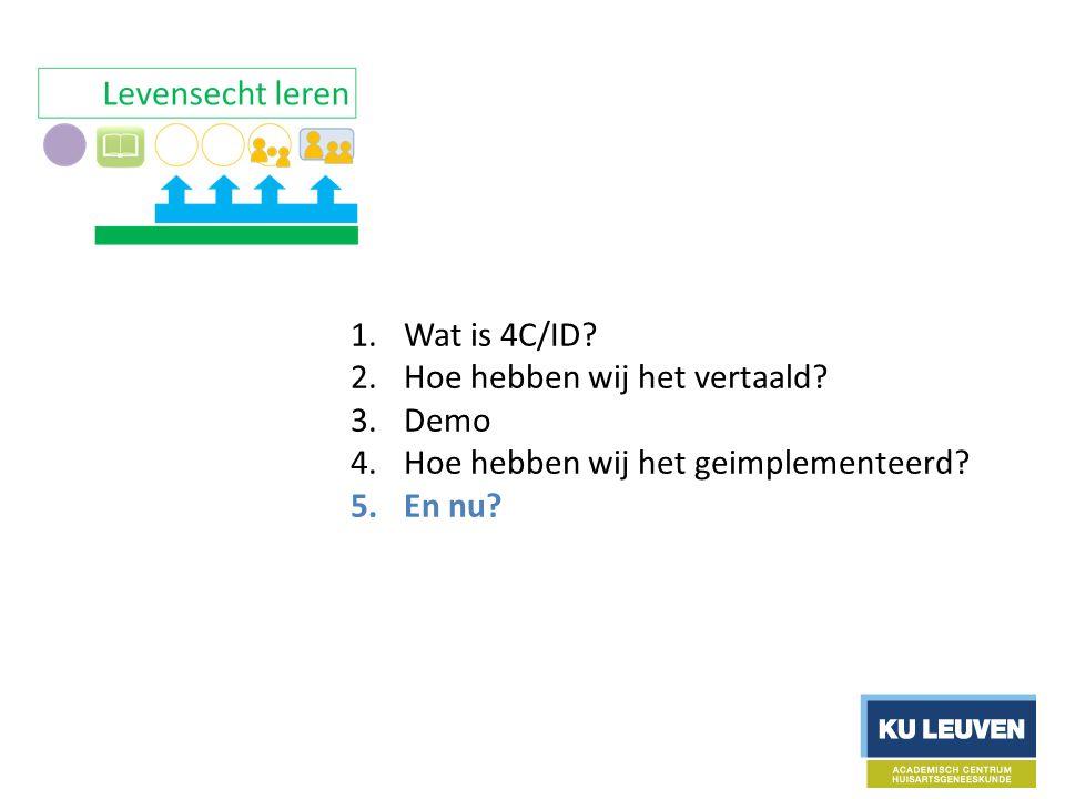 1.Wat is 4C/ID. 2.Hoe hebben wij het vertaald. 3.Demo 4.Hoe hebben wij het geimplementeerd.