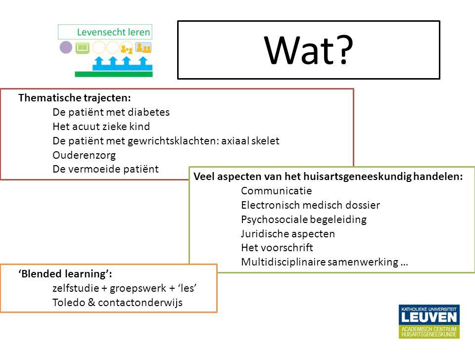 Thematische trajecten: De patiënt met diabetes Het acuut zieke kind De patiënt met gewrichtsklachten: axiaal skelet Ouderenzorg De vermoeide patiënt Wat.