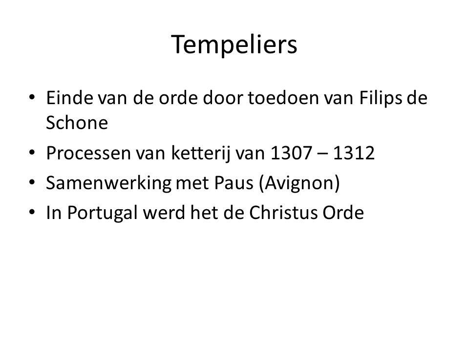 Tempeliers Einde van de orde door toedoen van Filips de Schone Processen van ketterij van 1307 – 1312 Samenwerking met Paus (Avignon) In Portugal werd