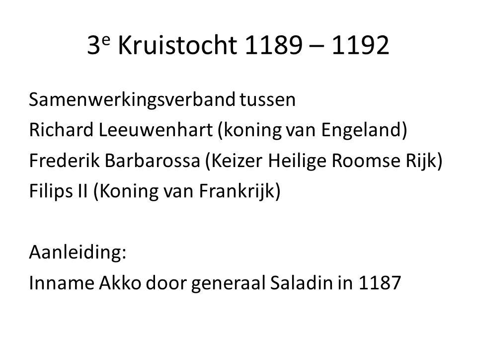 3 e Kruistocht 1189 – 1192 Samenwerkingsverband tussen Richard Leeuwenhart (koning van Engeland) Frederik Barbarossa (Keizer Heilige Roomse Rijk) Fili