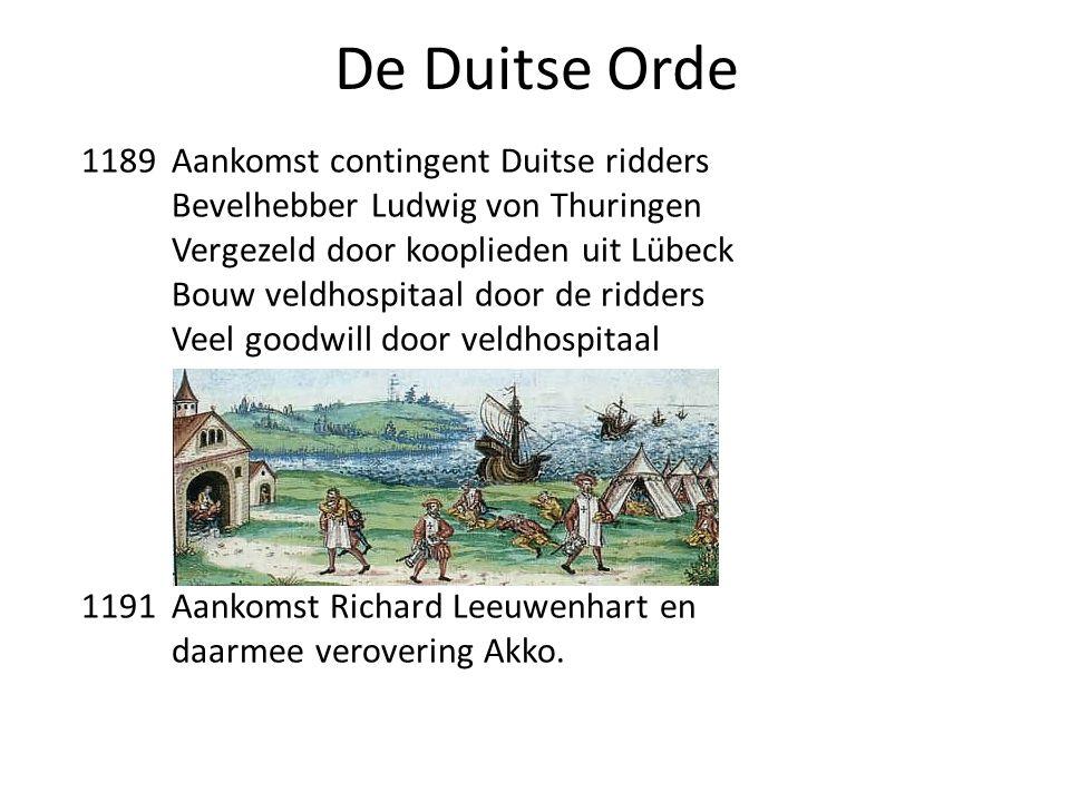 De Duitse Orde 1189 Aankomst contingent Duitse ridders Bevelhebber Ludwig von Thuringen Vergezeld door kooplieden uit Lübeck Bouw veldhospitaal door d