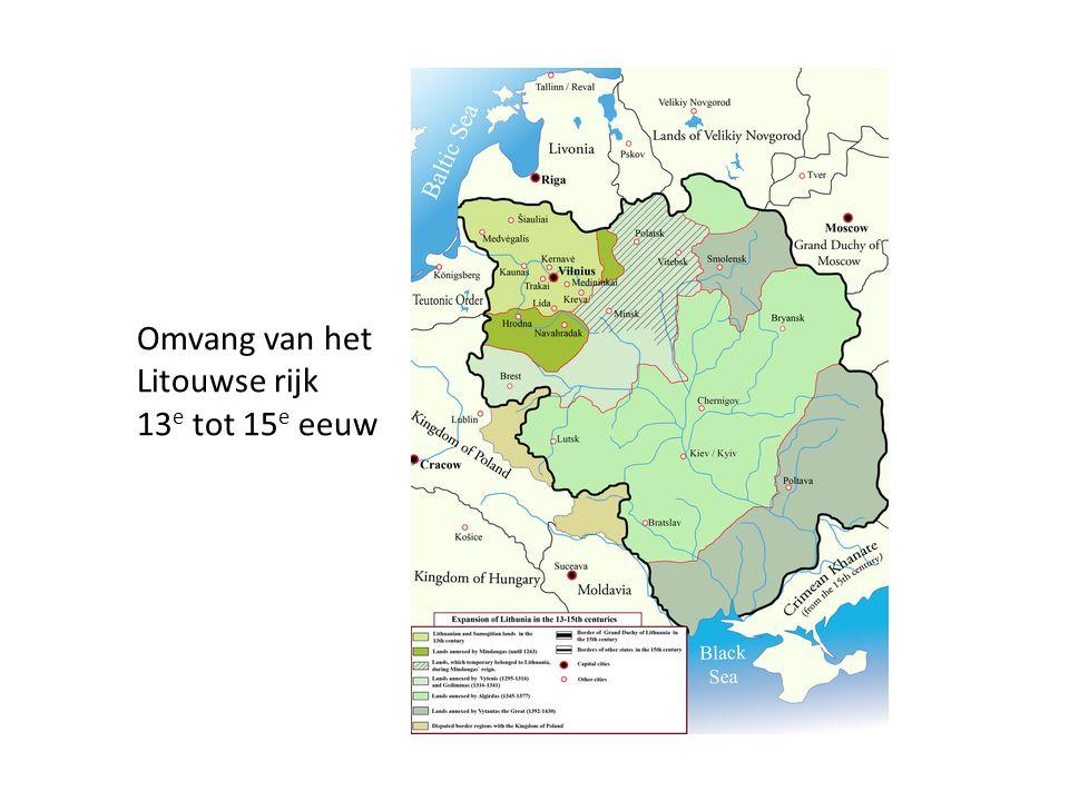 Omvang van het Litouwse rijk 13 e tot 15 e eeuw