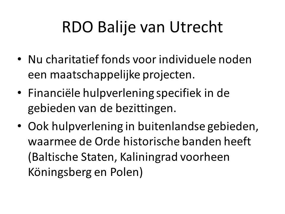RDO Balije van Utrecht Nu charitatief fonds voor individuele noden een maatschappelijke projecten. Financiële hulpverlening specifiek in de gebieden v