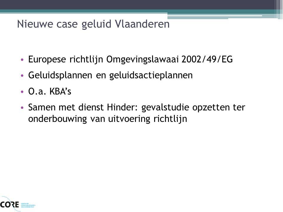 Nieuwe case geluid Vlaanderen Europese richtlijn Omgevingslawaai 2002/49/EG Geluidsplannen en geluidsactieplannen O.a. KBA's Samen met dienst Hinder: