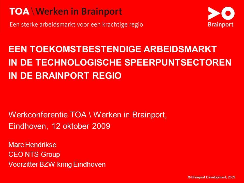 © Brainport Development, 2009Een toekomstbestendige arbeidsmarkt1© Brainport Development, 2009 EEN TOEKOMSTBESTENDIGE ARBEIDSMARKT IN DE TECHNOLOGISCHE SPEERPUNTSECTOREN IN DE BRAINPORT REGIO Werkconferentie TOA \ Werken in Brainport, Eindhoven, 12 oktober 2009 Marc Hendrikse CEO NTS-Group Voorzitter BZW-kring Eindhoven