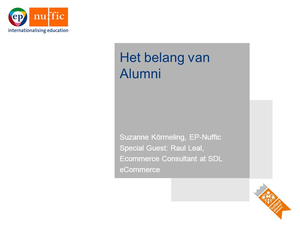 12 InterestDHEIsGovernmentFirmsAlumni Strengthen Dutch access & influence at all levels (public, corporate, governmental) Attracts students & engages alumni (recruitment, enrollment, advocacy) Deploys soft power & public diplomacy to support Dutch gov't interests Gives B2B access to the private sector (for investment, hiring & sales) Opens doors for networking; leads to personal & professional opportunity Increase trade, business & investment connections Connect to alumni-owned & managed firms Drive foreign direct investment in Dutch firms Connect with decision-makers familiar w/Dutch society & institutions Aids alumni business interests & professional success Promote Dutch credentials in research, teaching & innovation Helps recruit top students, professors, researchers & staff Leads to scientific & industrial research partnerships & funding Drives investment & sales, attracts top talent (engineers, scientists, executives) Adds value ( degree equity ) to diplomas issued by DHEIs Showcase the Netherlands as a prosperous stable, & open society Appeals to students' quality of life desires Expands Dutch societal influence, values & ideals Increases flow of capital & labor, appeals to business partners & investors Encourages lifelong alumni engagement & involvement with the Netherlands