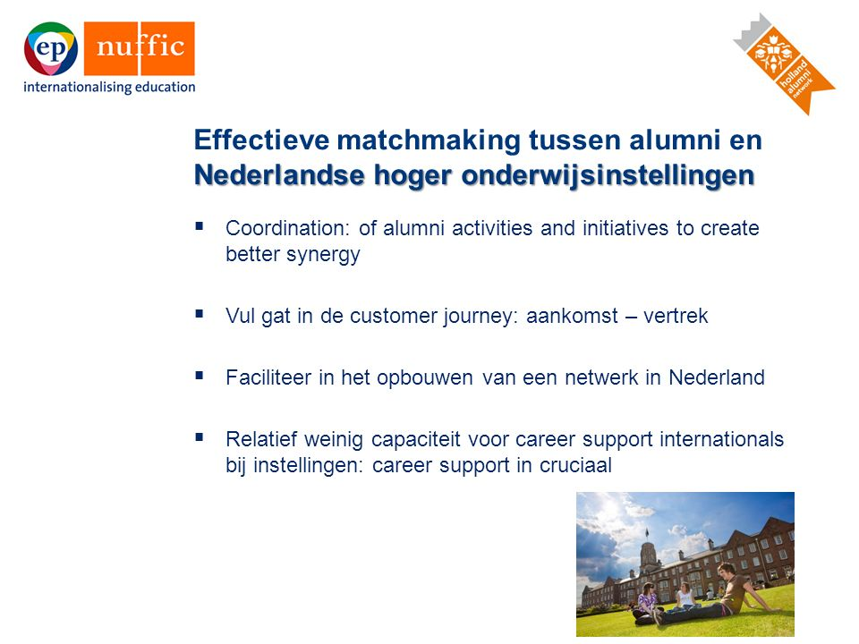 15  Coordination: of alumni activities and initiatives to create better synergy  Vul gat in de customer journey: aankomst – vertrek  Faciliteer in
