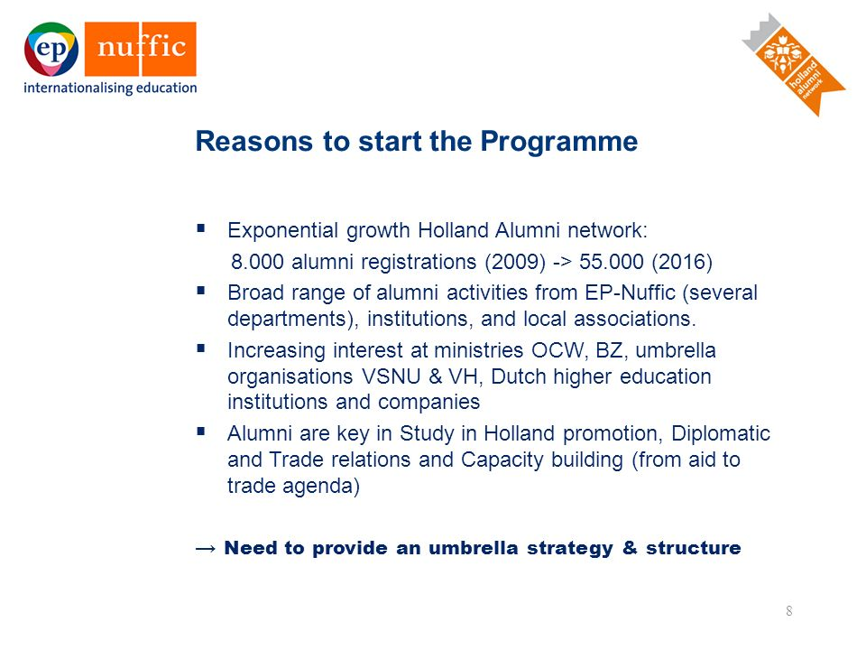 8  Exponential growth Holland Alumni network: 8.000 alumni registrations (2009) -> 55.000 (2016)  Broad range of alumni activities from EP-Nuffic (s