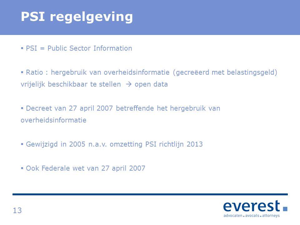 Titel PSI regelgeving 13  PSI = Public Sector Information  Ratio : hergebruik van overheidsinformatie (gecreëerd met belastingsgeld) vrijelijk beschikbaar te stellen  open data  Decreet van 27 april 2007 betreffende het hergebruik van overheidsinformatie  Gewijzigd in 2005 n.a.v.