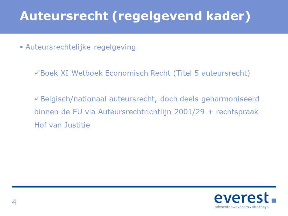 Titel Auteursrecht (regelgevend kader) 4  Auteursrechtelijke regelgeving Boek XI Wetboek Economisch Recht (Titel 5 auteursrecht) Belgisch/nationaal auteursrecht, doch deels geharmoniseerd binnen de EU via Auteursrechtrichtlijn 2001/29 + rechtspraak Hof van Justitie