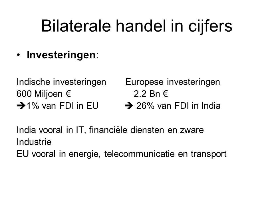 Bilaterale handel in cijfers Investeringen: Indische investeringen Europese investeringen 600 Miljoen € 2.2 Bn €  1% van FDI in EU  26% van FDI in India India vooral in IT, financiële diensten en zware Industrie EU vooral in energie, telecommunicatie en transport