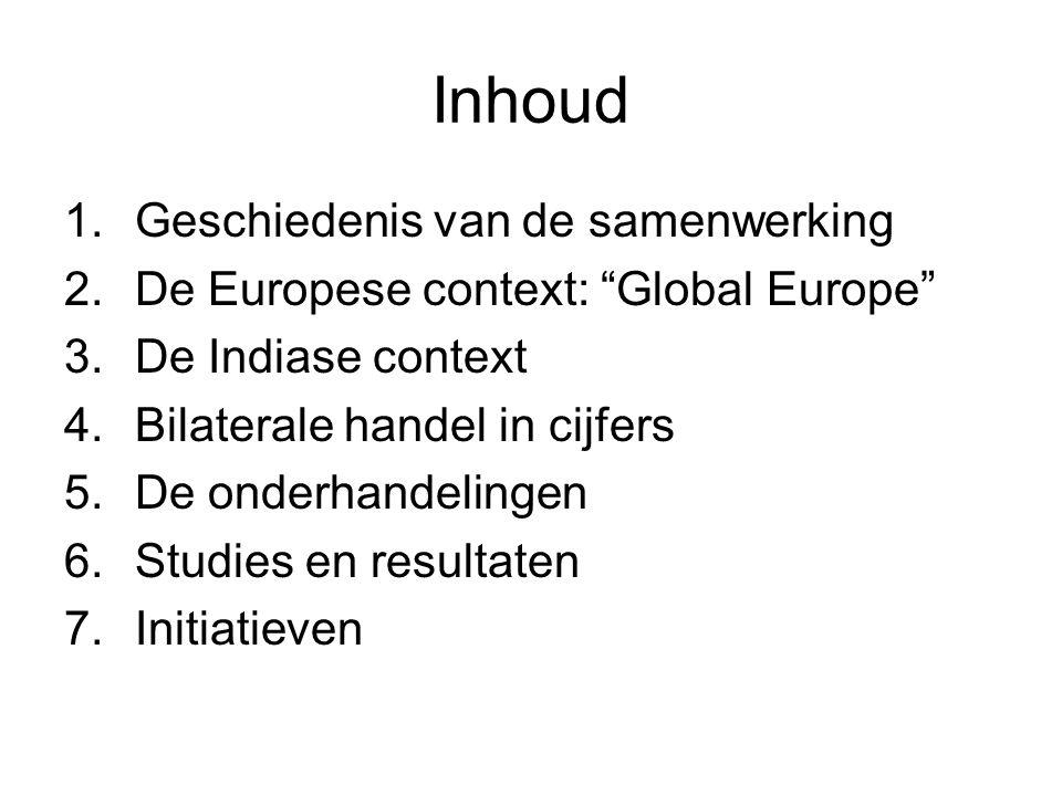 Inhoud 1.Geschiedenis van de samenwerking 2.De Europese context: Global Europe 3.De Indiase context 4.Bilaterale handel in cijfers 5.De onderhandelingen 6.Studies en resultaten 7.Initiatieven