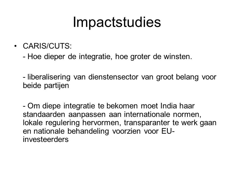 Impactstudies CARIS/CUTS: - Hoe dieper de integratie, hoe groter de winsten.