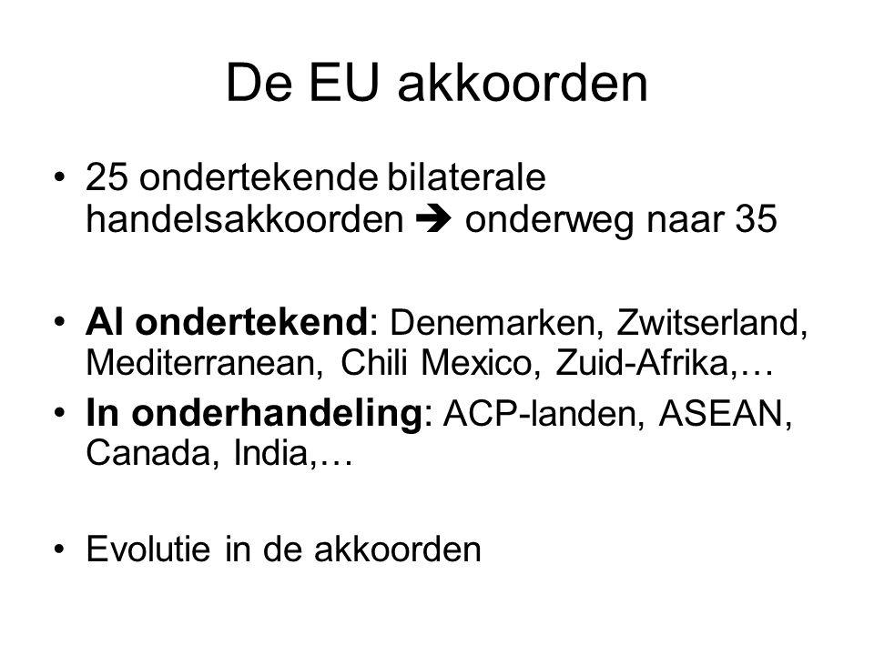 De EU akkoorden 25 ondertekende bilaterale handelsakkoorden  onderweg naar 35 Al ondertekend: Denemarken, Zwitserland, Mediterranean, Chili Mexico, Zuid-Afrika,… In onderhandeling: ACP-landen, ASEAN, Canada, India,… Evolutie in de akkoorden