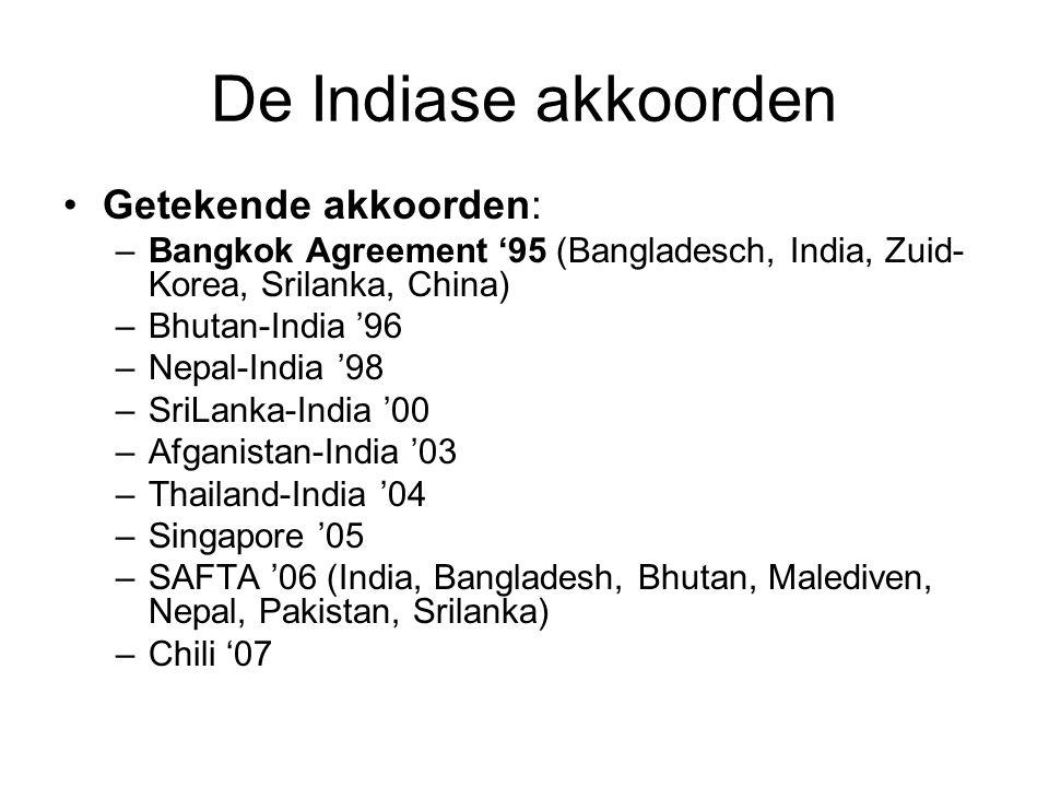 De Indiase akkoorden Getekende akkoorden: –Bangkok Agreement '95 (Bangladesch, India, Zuid- Korea, Srilanka, China) –Bhutan-India '96 –Nepal-India '98 –SriLanka-India '00 –Afganistan-India '03 –Thailand-India '04 –Singapore '05 –SAFTA '06 (India, Bangladesh, Bhutan, Malediven, Nepal, Pakistan, Srilanka) –Chili '07