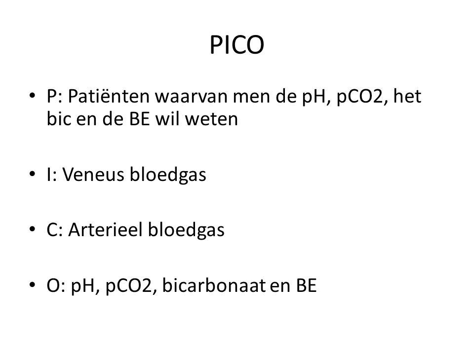 PICO P: Patiënten waarvan men de pH, pCO2, het bic en de BE wil weten I: Veneus bloedgas C: Arterieel bloedgas O: pH, pCO2, bicarbonaat en BE
