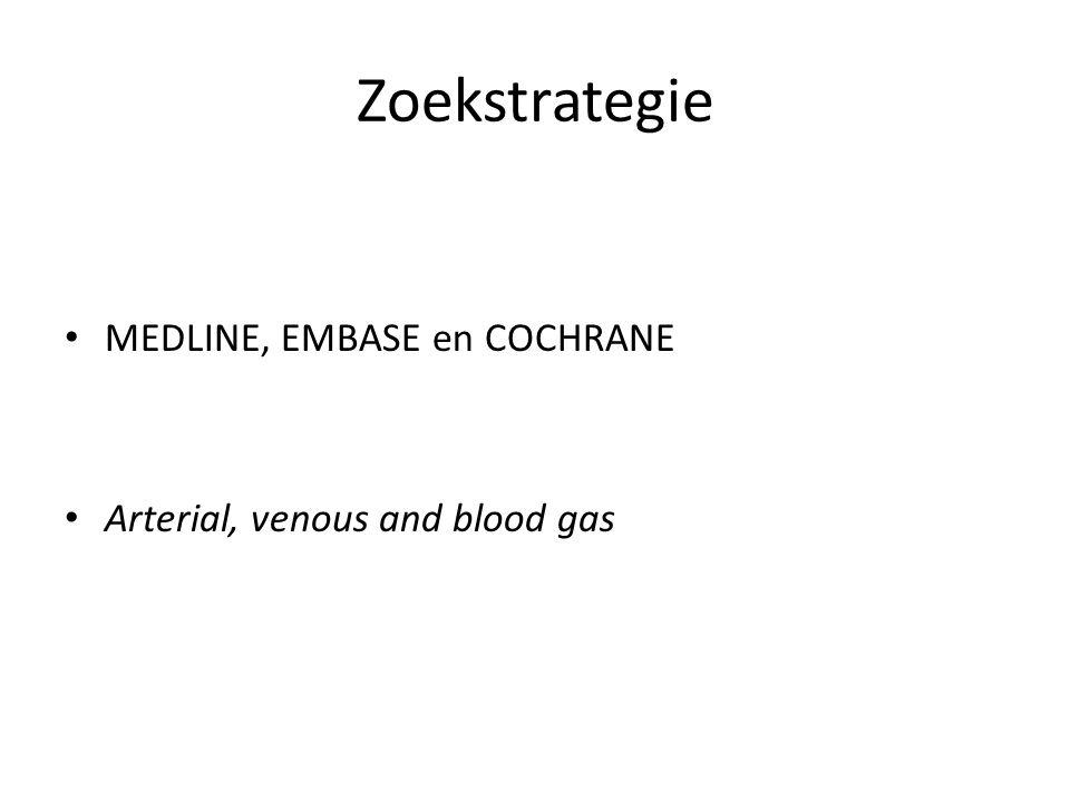 Zoekstrategie MEDLINE, EMBASE en COCHRANE Arterial, venous and blood gas