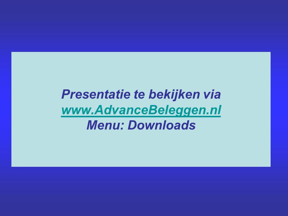 Presentatie te bekijken via www.AdvanceBeleggen.nl Menu: Downloads www.AdvanceBeleggen.nl
