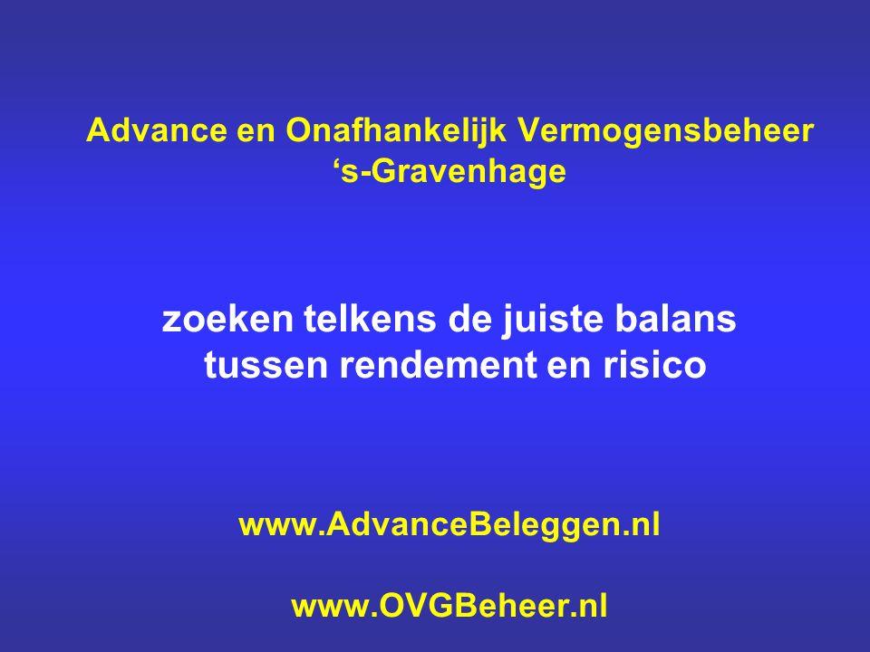 Advance en Onafhankelijk Vermogensbeheer 's-Gravenhage zoeken telkens de juiste balans tussen rendement en risico www.AdvanceBeleggen.nl www.OVGBeheer.nl