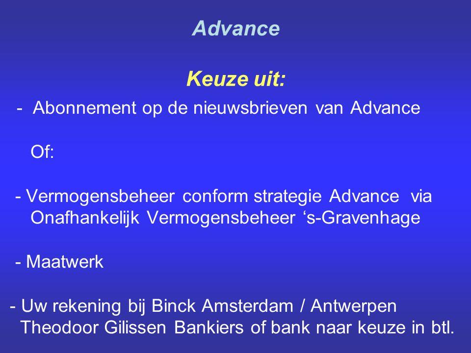 - Abonnement op de nieuwsbrieven van Advance Of: - Vermogensbeheer conform strategie Advance via Onafhankelijk Vermogensbeheer 's-Gravenhage - Maatwerk - Uw rekening bij Binck Amsterdam / Antwerpen Theodoor Gilissen Bankiers of bank naar keuze in btl.