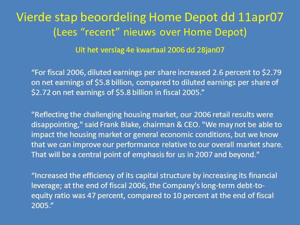 """Vierde stap beoordeling Home Depot dd 11apr07 (Lees """"recent"""" nieuws over Home Depot) Uit het verslag 4e kwartaal 2006 dd 28jan07"""