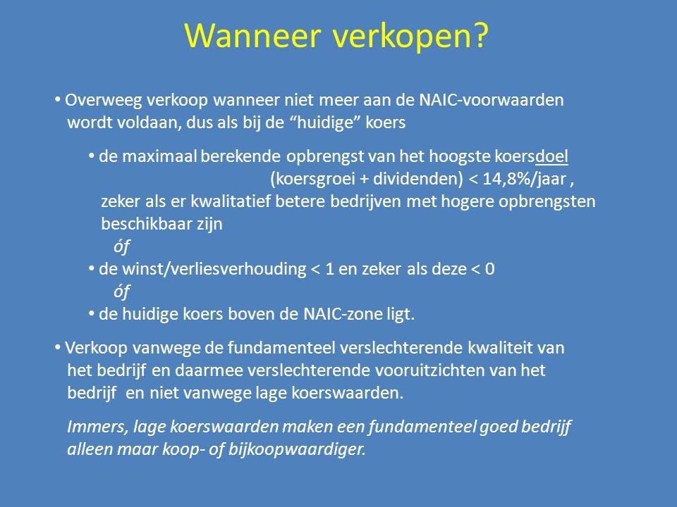 """Wanneer verkopen? Overweeg verkoop wanneer niet meer aan de NAIC-voorwaarden wordt voldaan, dus als bij de """"huidige"""" koers de maximaal berekende opbre"""