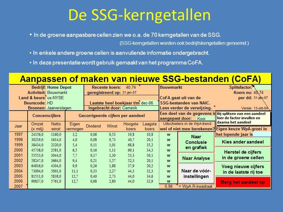 De SSG-kerngetallen In de groene aanpasbare cellen zien we o.a. de 70 kerngetallen van de SSG. (SSG-kerngetallen worden ook bedrijfskengetallen genoem