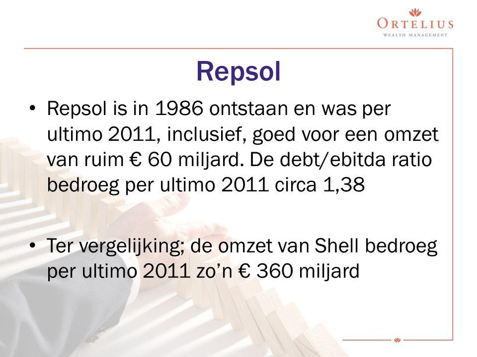 Repsol Repsol is in 1986 ontstaan en was per ultimo 2011, inclusief, goed voor een omzet van ruim € 60 miljard. De debt/ebitda ratio bedroeg per ultim