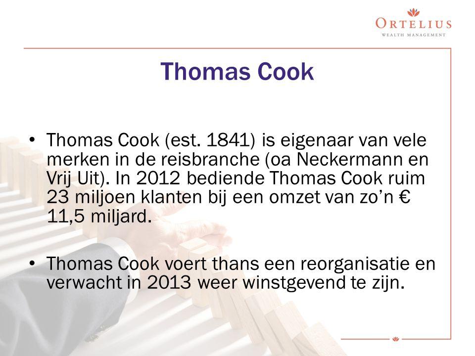 Thomas Cook (est. 1841) is eigenaar van vele merken in de reisbranche (oa Neckermann en Vrij Uit). In 2012 bediende Thomas Cook ruim 23 miljoen klante
