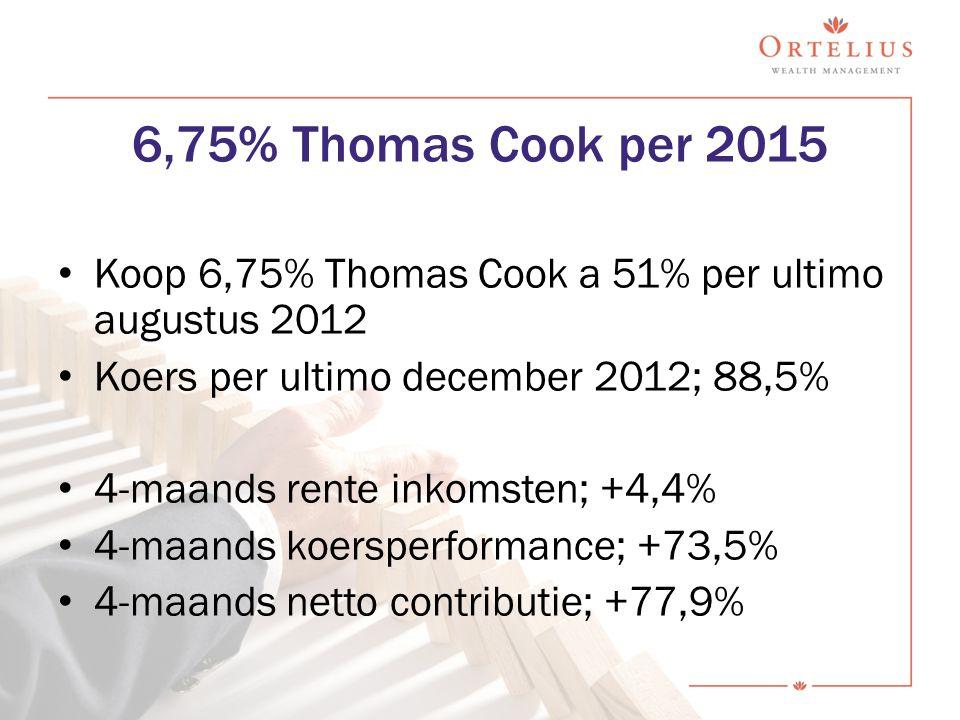 Koop 6,75% Thomas Cook a 51% per ultimo augustus 2012 Koers per ultimo december 2012; 88,5% 4-maands rente inkomsten; +4,4% 4-maands koersperformance;