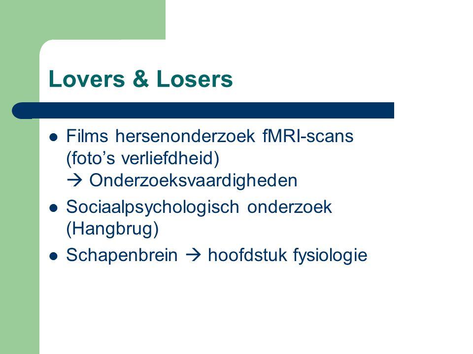 Lovers & Losers Films hersenonderzoek fMRI-scans (foto's verliefdheid)  Onderzoeksvaardigheden Sociaalpsychologisch onderzoek (Hangbrug) Schapenbrein  hoofdstuk fysiologie