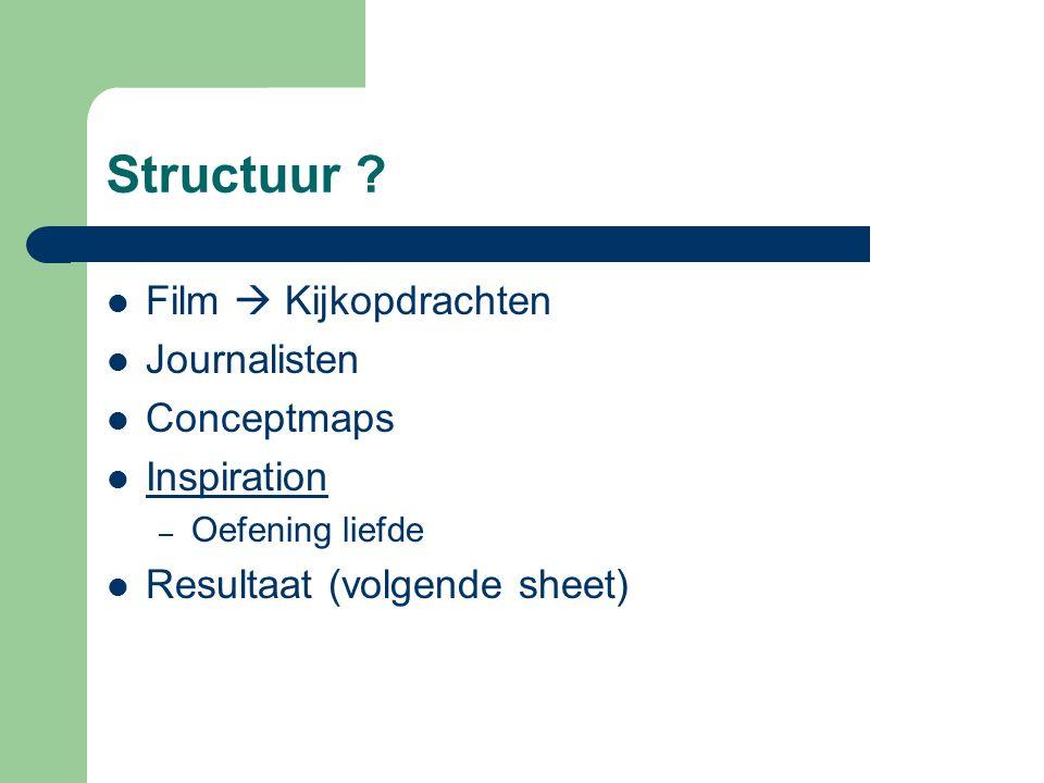 Structuur ? Film  Kijkopdrachten Journalisten Conceptmaps Inspiration – Oefening liefde Resultaat (volgende sheet)