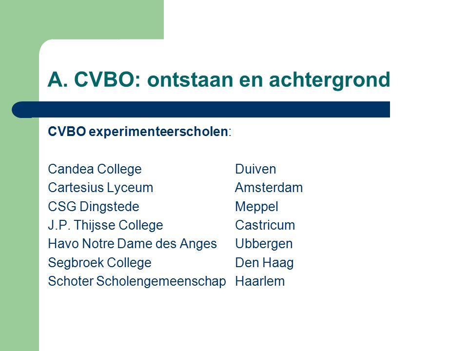 A. CVBO: ontstaan en achtergrond CVBO experimenteerscholen: Candea CollegeDuiven Cartesius LyceumAmsterdam CSG DingstedeMeppel J.P. Thijsse CollegeCas