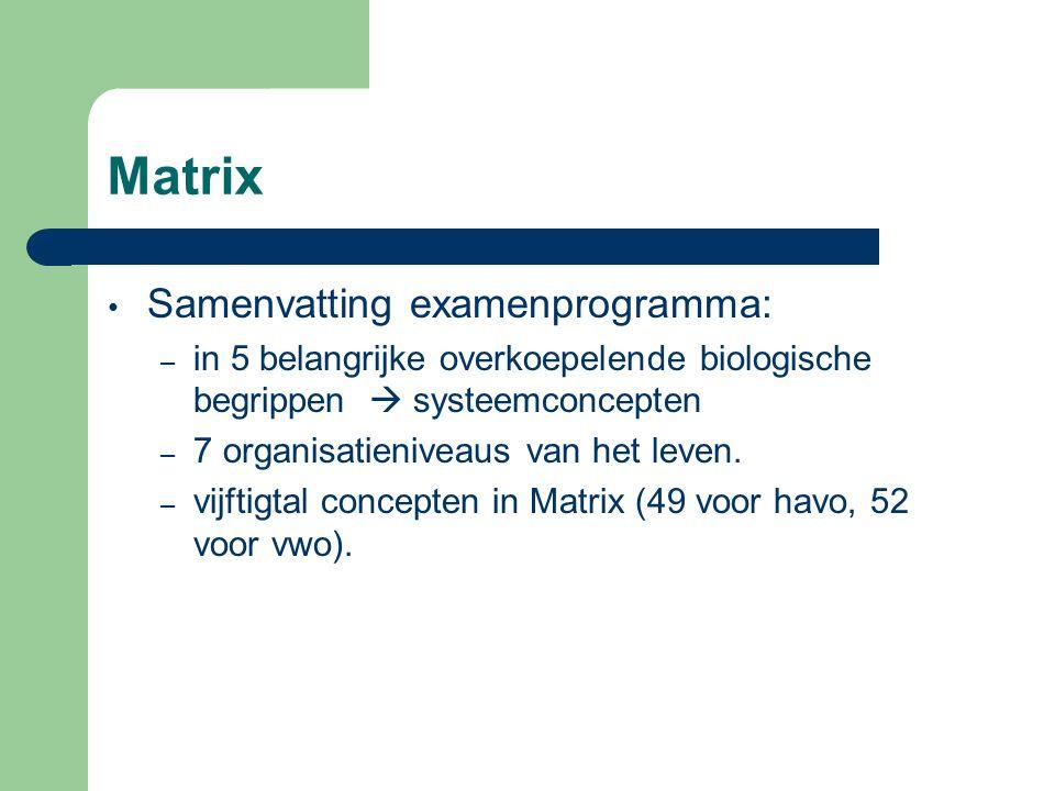 Matrix Samenvatting examenprogramma: – in 5 belangrijke overkoepelende biologische begrippen  systeemconcepten – 7 organisatieniveaus van het leven.
