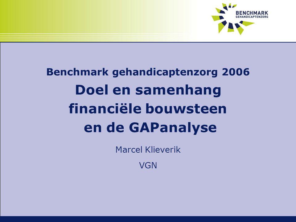 Benchmark gehandicaptenzorg 2006 Doel en samenhang financiële bouwsteen en de GAPanalyse Marcel Klieverik VGN