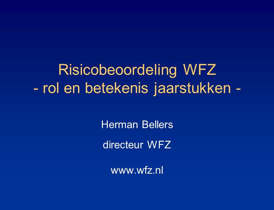 Risicobeoordeling WFZ - rol en betekenis jaarstukken - Herman Bellers directeur WFZ www.wfz.nl