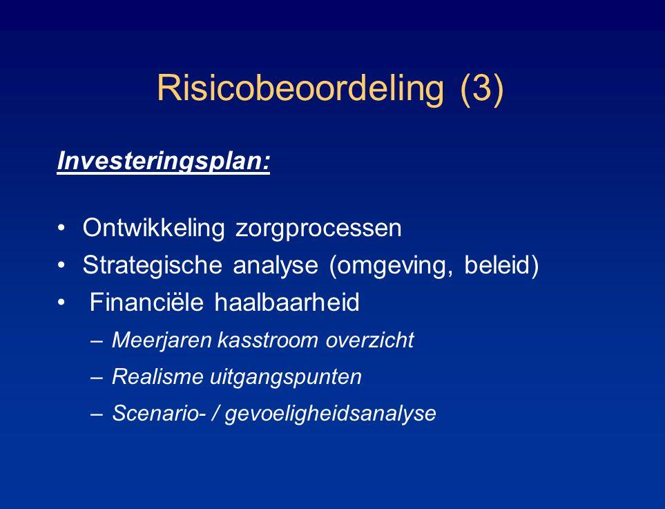 Risicobeoordeling (3) Investeringsplan: Ontwikkeling zorgprocessen Strategische analyse (omgeving, beleid) Financiële haalbaarheid –Meerjaren kasstroom overzicht –Realisme uitgangspunten –Scenario- / gevoeligheidsanalyse