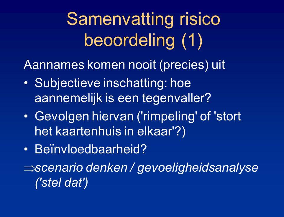 Samenvatting risico beoordeling (1) Aannames komen nooit (precies) uit Subjectieve inschatting: hoe aannemelijk is een tegenvaller.