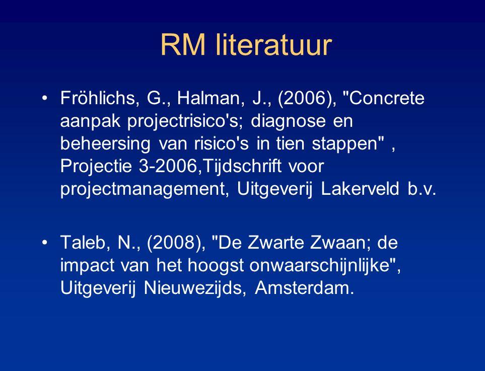 RM literatuur Fröhlichs, G., Halman, J., (2006), Concrete aanpak projectrisico s; diagnose en beheersing van risico s in tien stappen , Projectie 3-2006,Tijdschrift voor projectmanagement, Uitgeverij Lakerveld b.v.