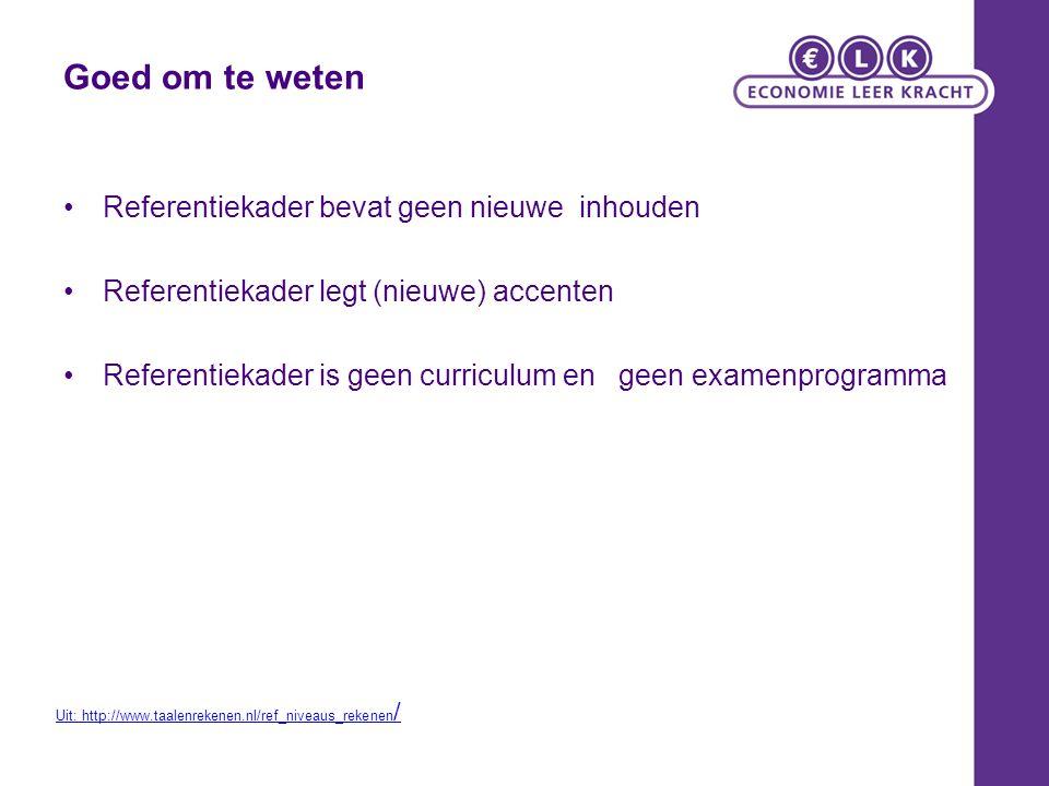 Goed om te weten Referentiekader bevat geen nieuwe inhouden Referentiekader legt (nieuwe) accenten Referentiekader is geen curriculum en geen examenprogramma Uit: http://www.taalenrekenen.nl/ref_niveaus_rekenen /