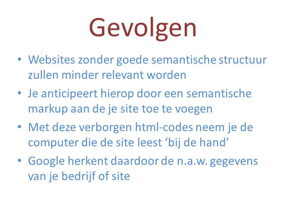 Gevolgen Websites zonder goede semantische structuur zullen minder relevant worden Je anticipeert hierop door een semantische markup aan de je site toe te voegen Met deze verborgen html-codes neem je de computer die de site leest 'bij de hand' Google herkent daardoor de n.a.w.