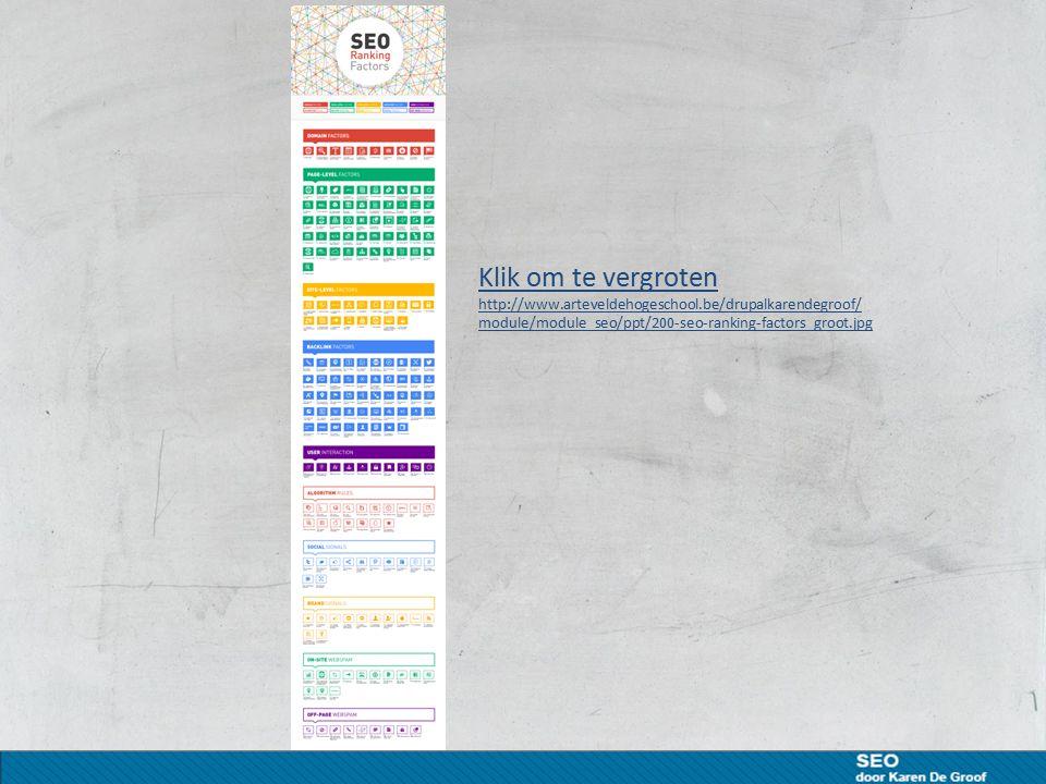 Klik om te vergroten http://www.arteveldehogeschool.be/drupalkarendegroof/ module/module_seo/ppt/200-seo-ranking-factors_groot.jpg