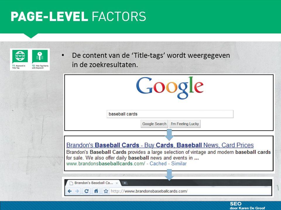 Robot.txt Zorg voor een 'robots.txt' in de Root (= hoofdmap) Een robots.txt bestand laat zoekmachines weten of ze toegang hebben tot onderdelen van uw site en deze mogen crawlen Wanneer het niet nodig is gaan we de crawling beperken Aan websitebouwer vragen of via http://www.mcanerin.com/en/search-engine/robots-txt.asphttp://www.mcanerin.com/en/search-engine/robots-txt.asp