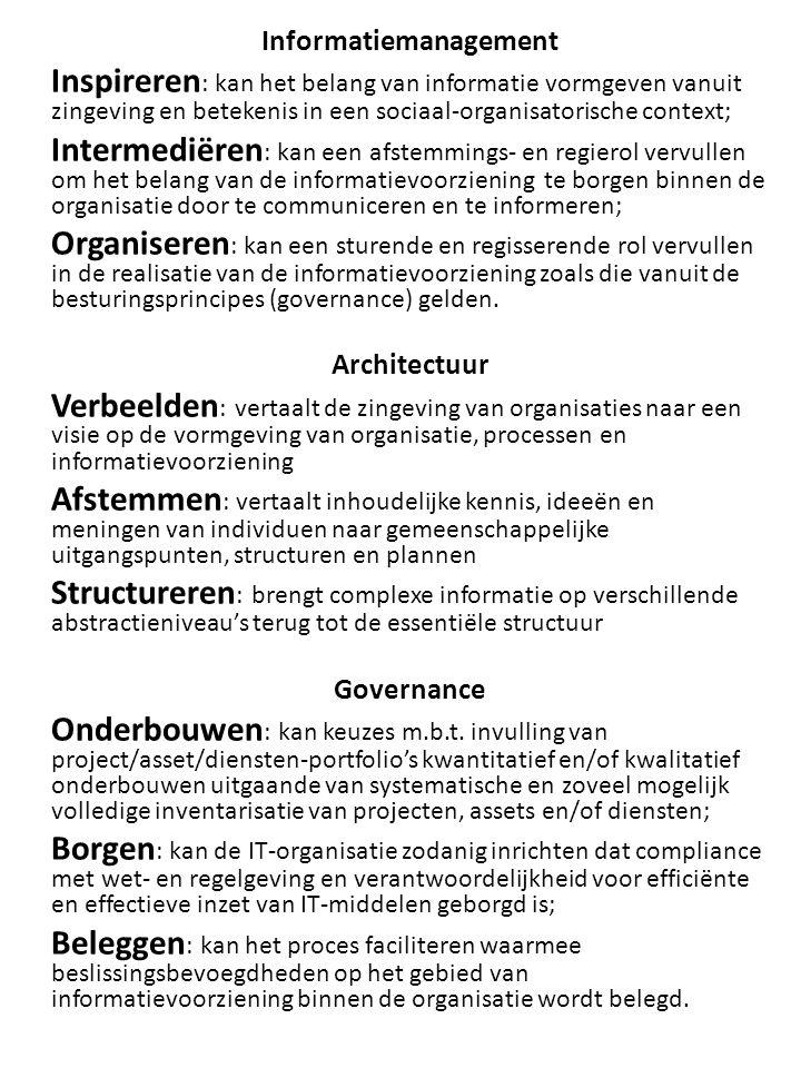 Informatiemanagement Kennis en inzicht I1.
