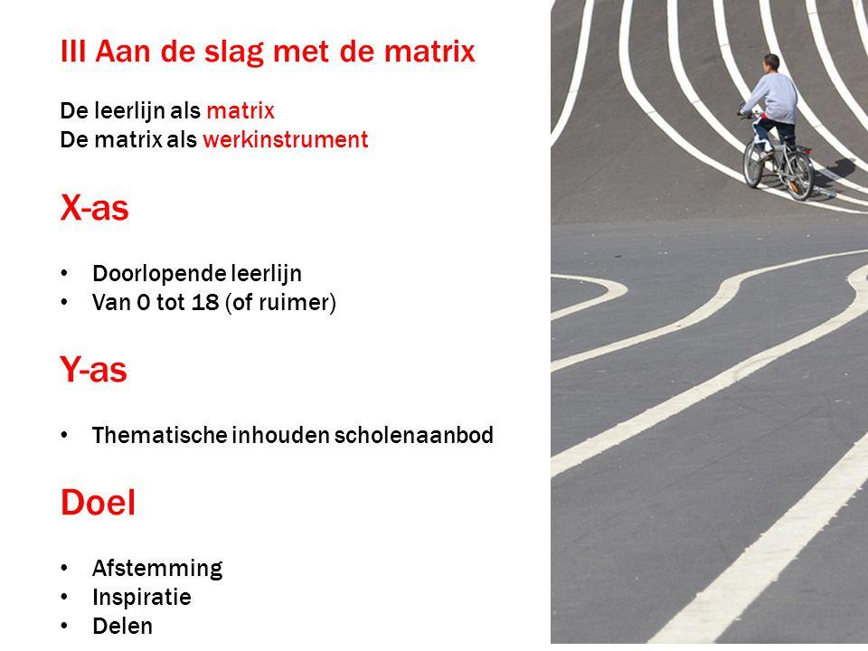 III Aan de slag met de matrix De leerlijn als matrix De matrix als werkinstrument X-as Doorlopende leerlijn Van 0 tot 18 (of ruimer) Y-as Thematische