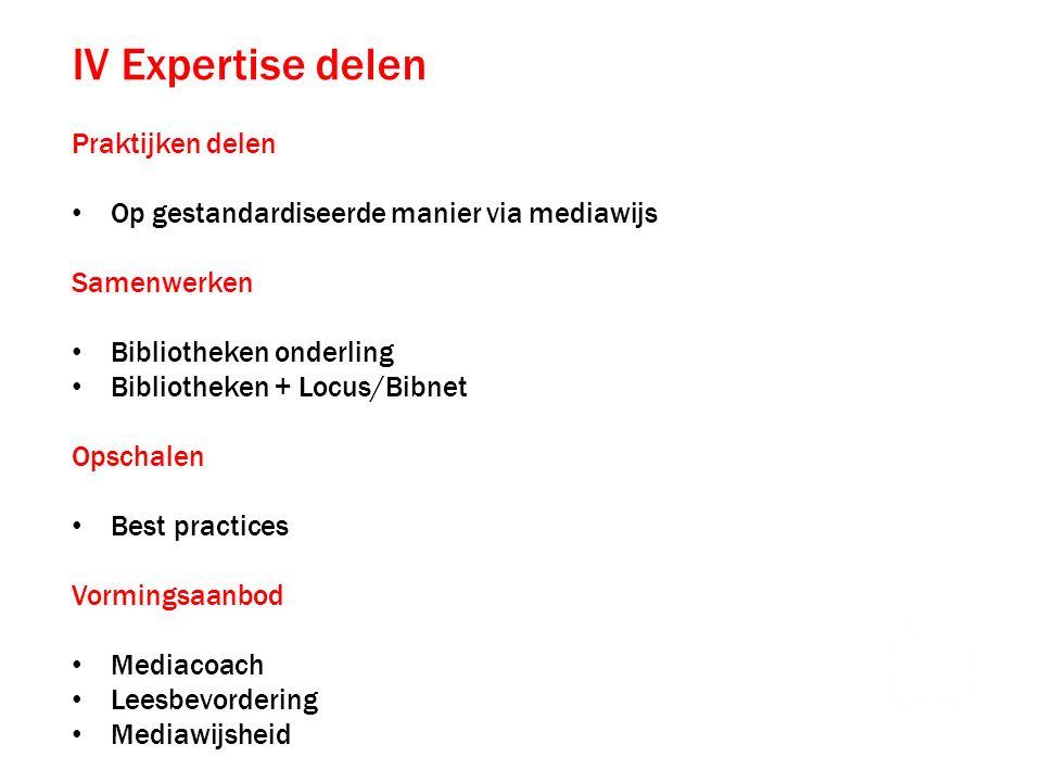 IV Expertise delen Praktijken delen Op gestandardiseerde manier via mediawijs Samenwerken Bibliotheken onderling Bibliotheken + Locus/Bibnet Opschalen