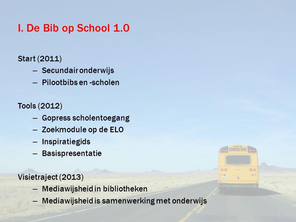 I. De Bib op School 1.0 Start (2011) – Secundair onderwijs – Pilootbibs en -scholen Tools (2012) – Gopress scholentoegang – Zoekmodule op de ELO – Ins