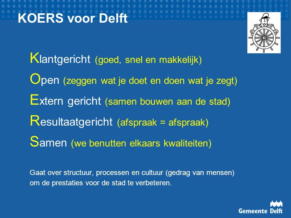 KOERS voor Delft K lantgericht (goed, snel en makkelijk) O pen (zeggen wat je doet en doen wat je zegt) E xtern gericht (samen bouwen aan de stad) R esultaatgericht (afspraak = afspraak) S amen (we benutten elkaars kwaliteiten) Gaat over structuur, processen en cultuur (gedrag van mensen) om de prestaties voor de stad te verbeteren.
