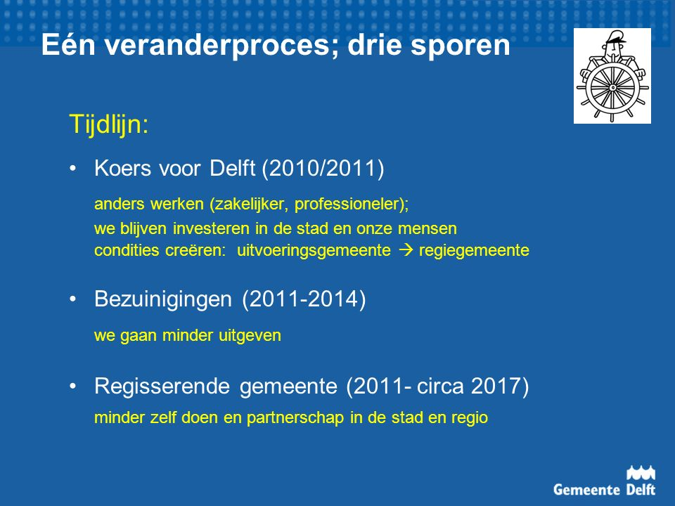 Eén veranderproces; drie sporen Tijdlijn: Koers voor Delft (2010/2011) anders werken (zakelijker, professioneler); we blijven investeren in de stad en onze mensen condities creëren: uitvoeringsgemeente  regiegemeente Bezuinigingen (2011-2014) we gaan minder uitgeven Regisserende gemeente (2011- circa 2017) minder zelf doen en partnerschap in de stad en regio